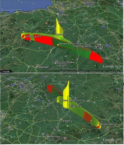 Forecast track (yellow) and actual track (red)